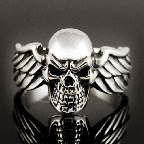 Skull With Wings Ring Sterling Silver 925 Ebay