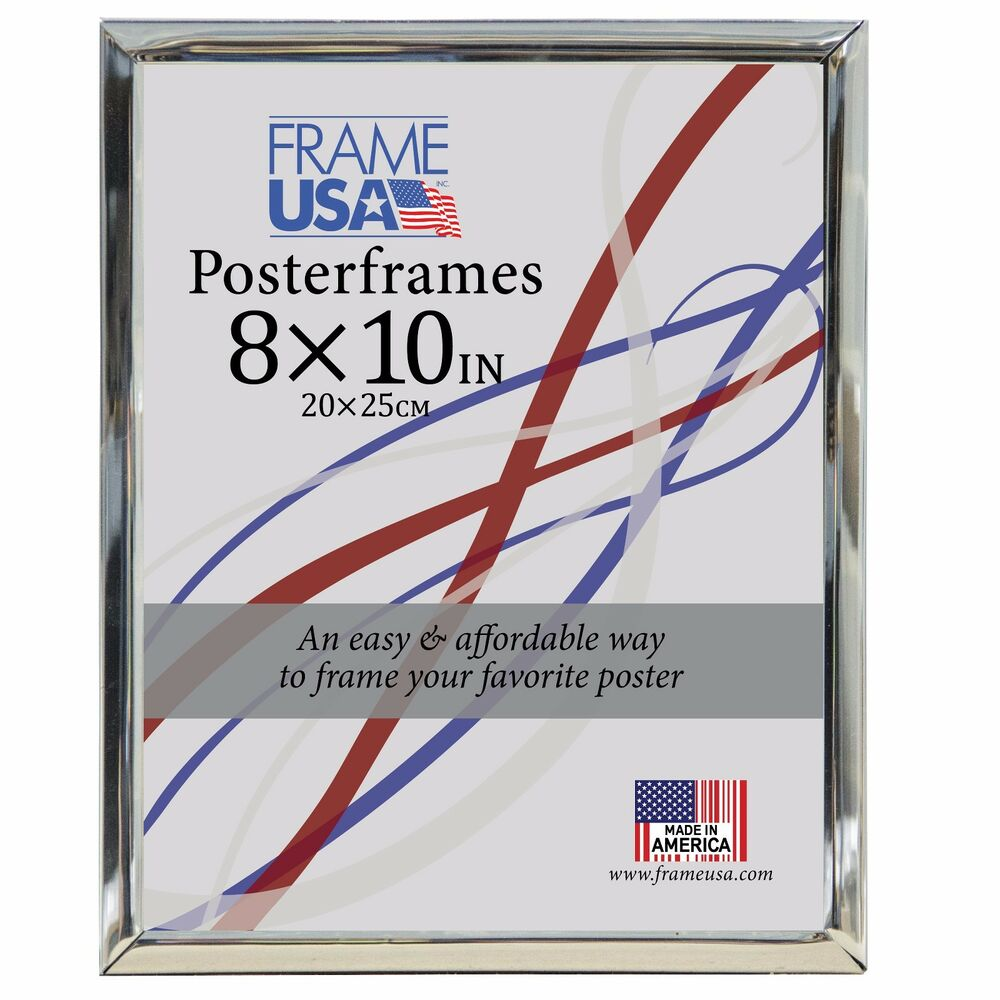 Silver Poster Frame w/Plexi-Glass and Hardboard Backing ...
