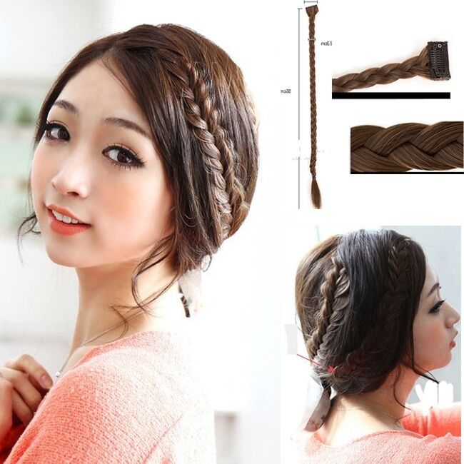 Long Braided Fishbone Hair Extension Clip In Hairpiece