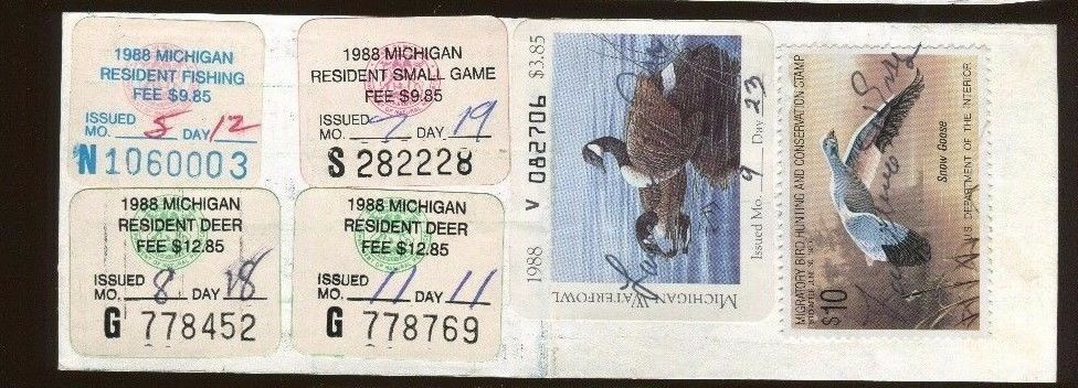 Michigan 1988 resident fishing license rw55 state stamp for Michigan non resident fishing license