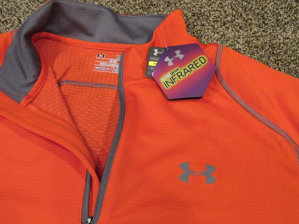 Men 39 s under armour fitted 1 4 zip long sleeve pullover for Yellow under armour long sleeve shirt