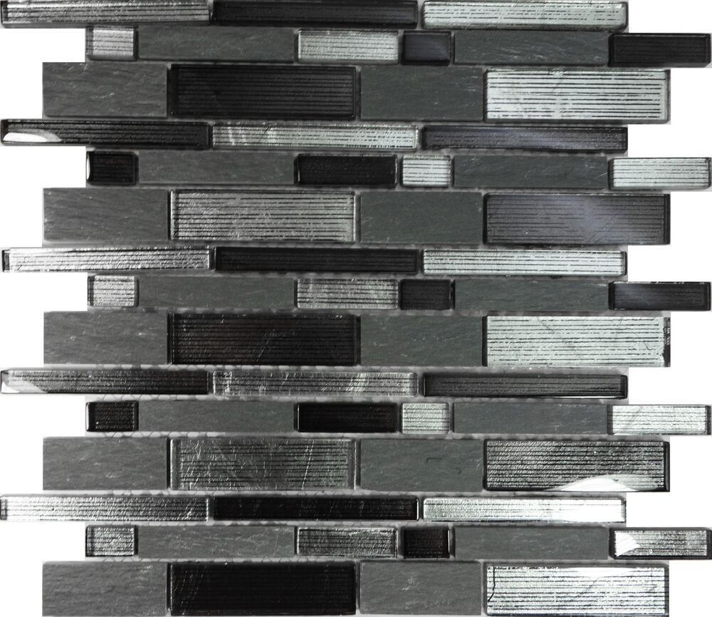 Sample Black Metallic Deco Insert Crackle Glass Mosaic: 10SF- Metallic Silver Black Glass Stone Mosaic Tile Wall