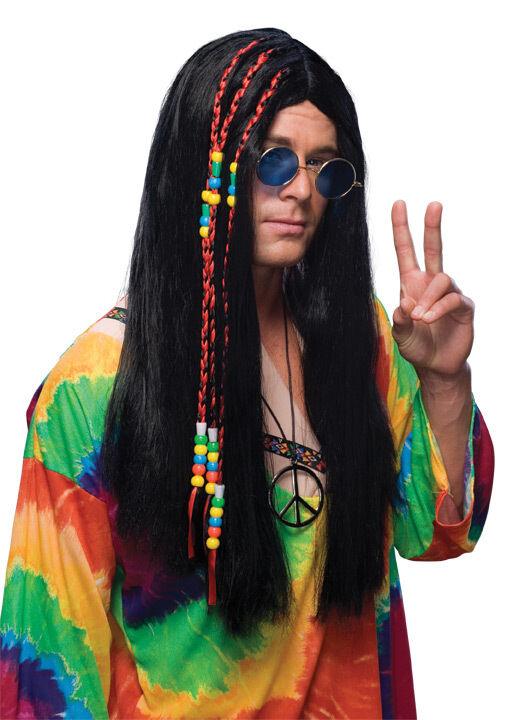 1960s Long Black Hair Wig 60s 70s Hippie Adult Men Male