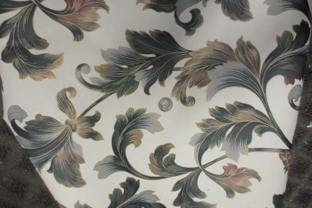 New york wallpaper roll green cream bronze laurel leaf for New york wallpaper rolls