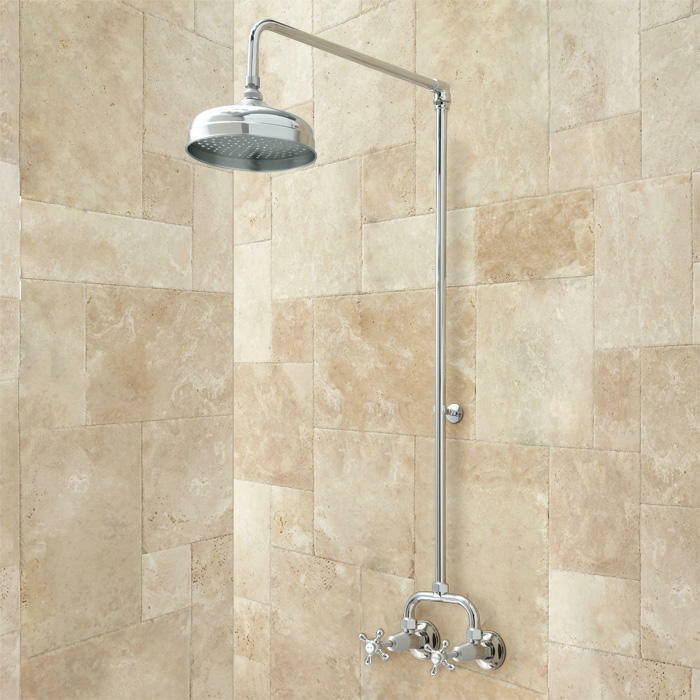 Baudette Exposed Pipe Wall Mount Shower With Rainfall