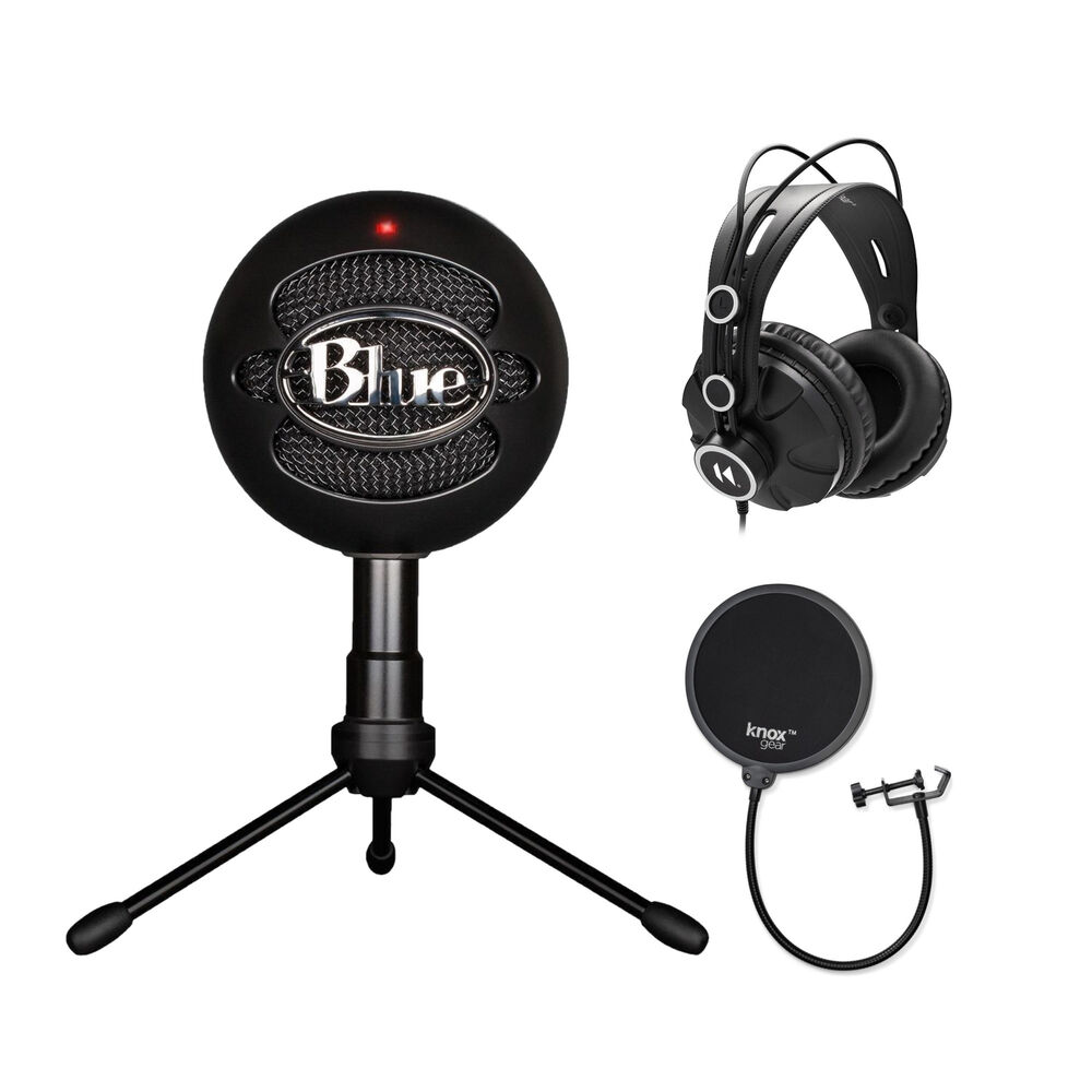 blue microphones snowball ice mic black with knox pop filter headphones ebay. Black Bedroom Furniture Sets. Home Design Ideas
