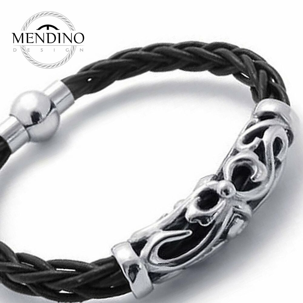 bracelet clasps for leather mendino s stainless steel leather bracelet hollow 4439
