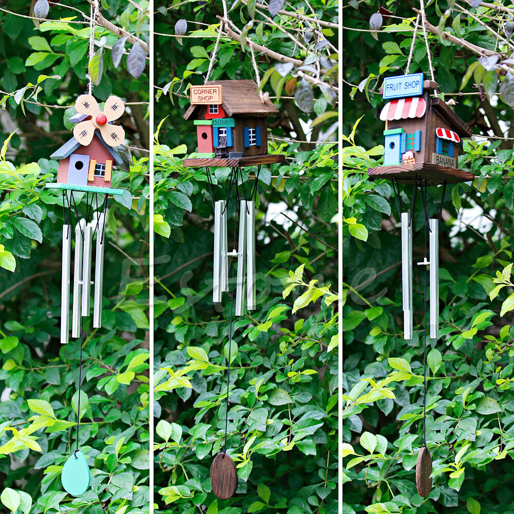 New 4 tubes copper tone wood house wind chimes home yard for Wooden garden ornaments and accessories