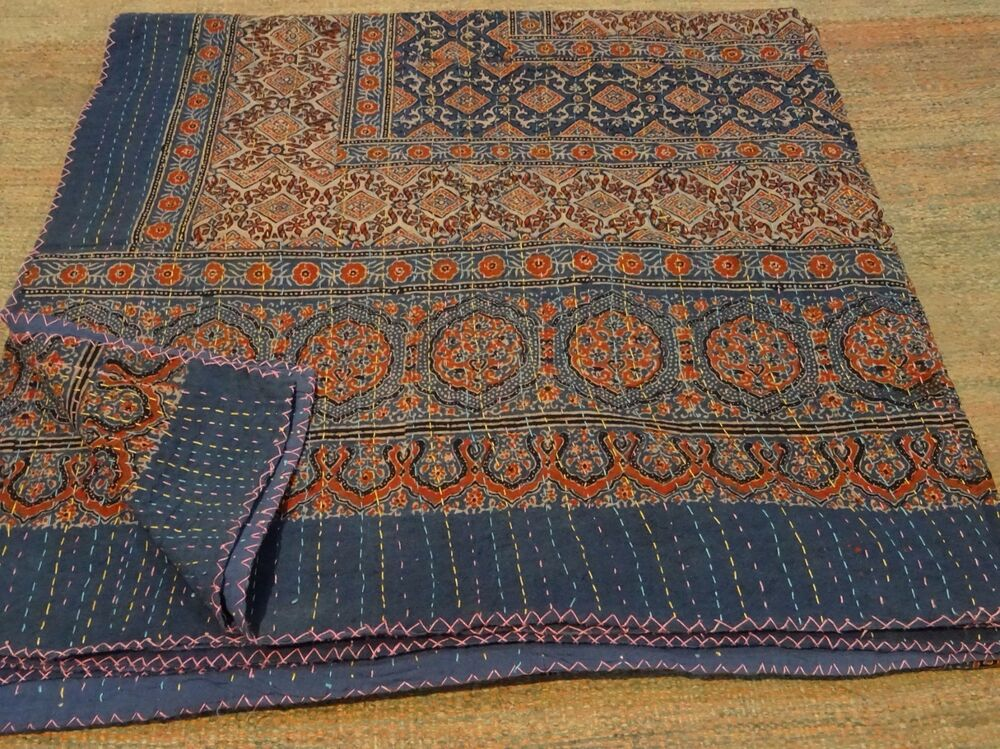 king beautiful kantha king size quilts throw blanket reversible quilt 009 ebay. Black Bedroom Furniture Sets. Home Design Ideas