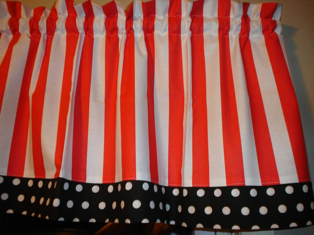 Red White Stripe Black Polka Dot Trim Kitchen Window