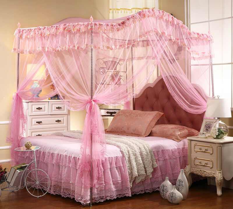 Bed Canopy Set With Canopy Pole Rods Frame Pink Full