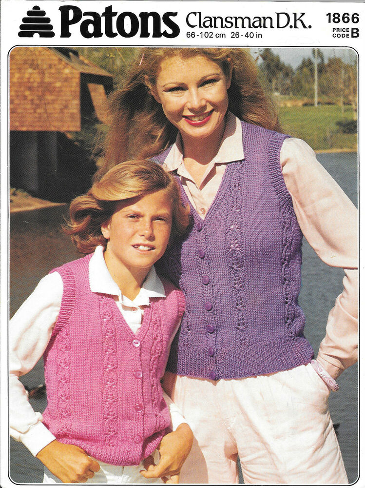 Vintage Patons Knitting Pattern Mother & Daughter DK Lacy Waistcoats ...