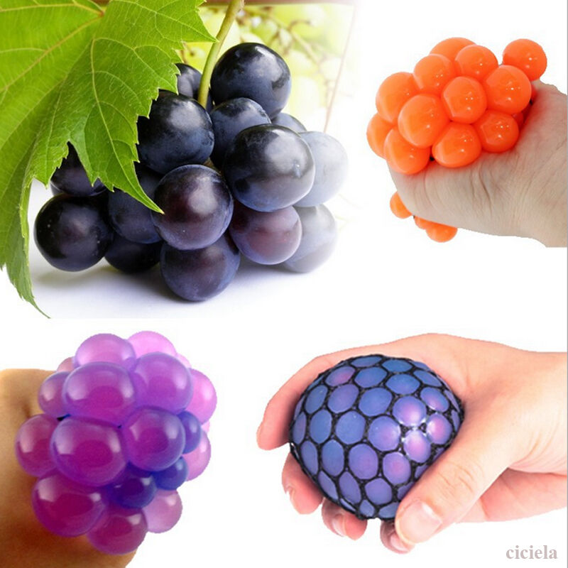 Squishy Squeeze Ball : Squishy Mesh Ball Grape Squeeze Toy Gag Gift Novelty in Sensory Fruity Kid Toy eBay