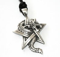 DRAGON PENTAGRAM STAR Silver PEWTER Necklace PENDANT