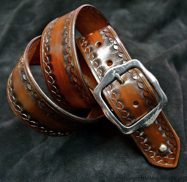 Leather Belt Custom Hand Tooled Cowboy Gun Leather Made