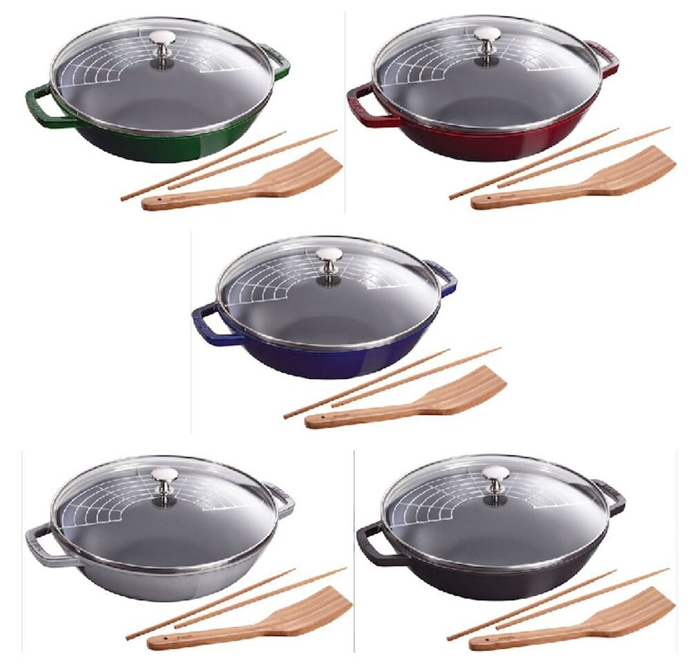 staub 12 4 5 qt cast iron perfect pan cooking pot w lid 5 color choice new ebay. Black Bedroom Furniture Sets. Home Design Ideas