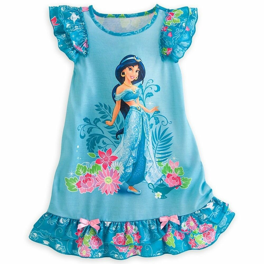 Disney store princess aladdin jasmine short sleeve nightgown pajama girl 7 8 ebay - Robe jasmine disney ...