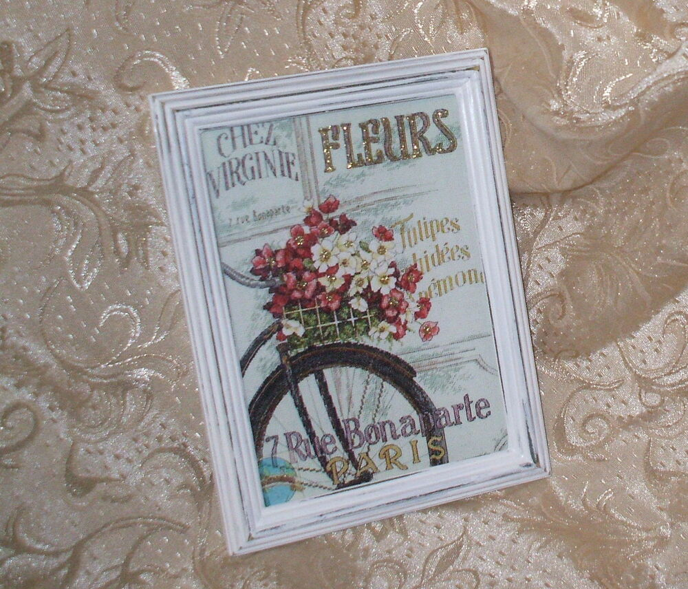 shabby distressed frame chic flower shop bike print french cottage decor ebay. Black Bedroom Furniture Sets. Home Design Ideas
