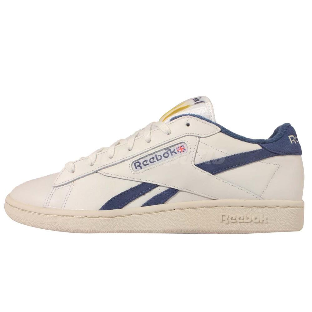 reebok npc uk tb beige navy leather mens casual shoes