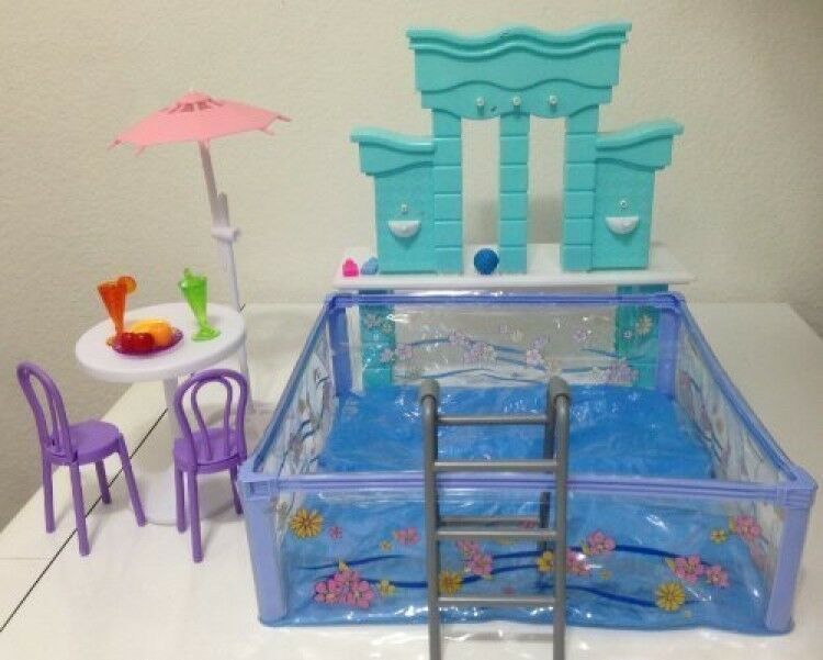 barbie size dollhouse furniture water fountain swimming pool play set new ebay. Black Bedroom Furniture Sets. Home Design Ideas