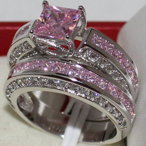 Eternity Ring Wedding Set: Sz 6-11 Eternity Womens Engagement Pink Sapphire NO