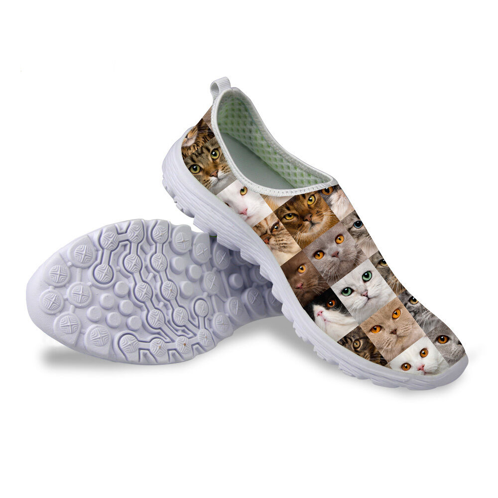 animal cats shoes mesh breathable casual shoes