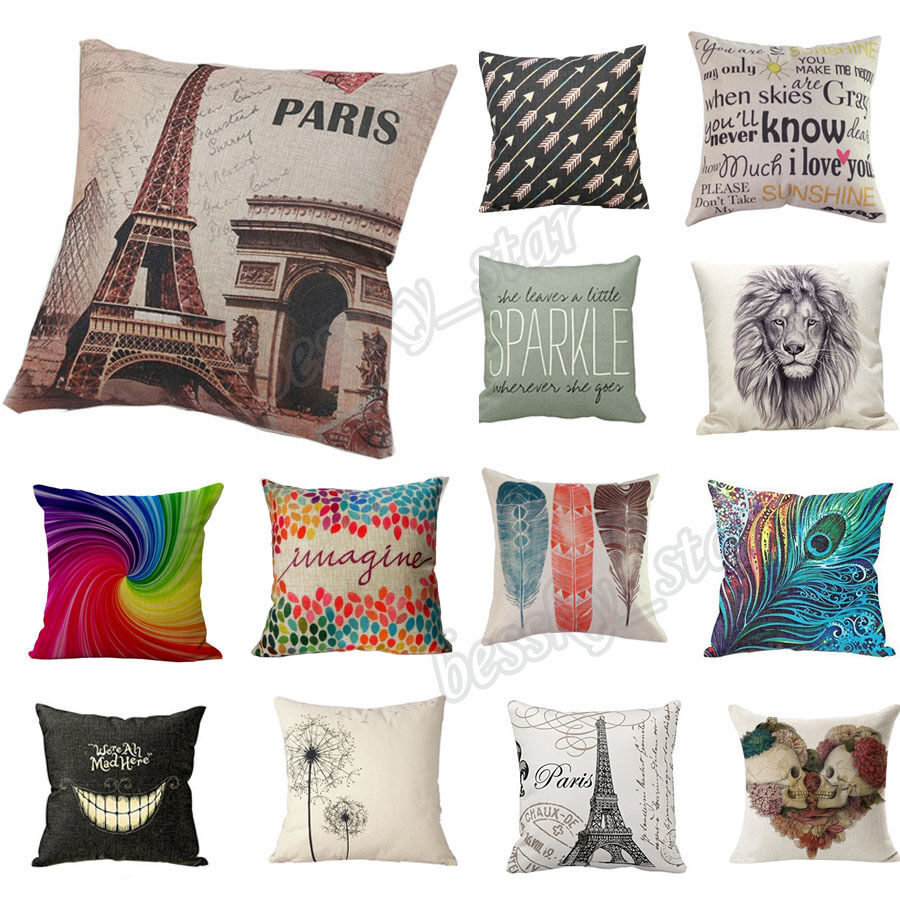 Home bed decor cotton linen square decorative throw pillow for Decorative bed pillow case