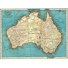 1939 Antique AUSTRALIA MAP Vintage Map of Australia Gallery Wall Art  #2828
