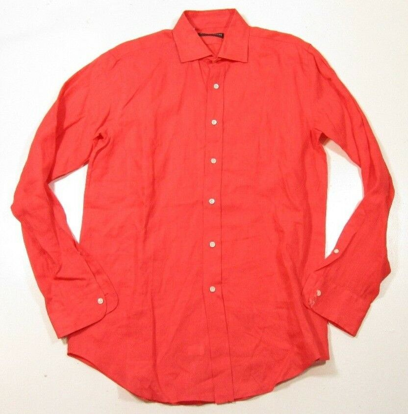 Ralph lauren black label men 39 s linen coral pink dress for Size 15 dress shirt