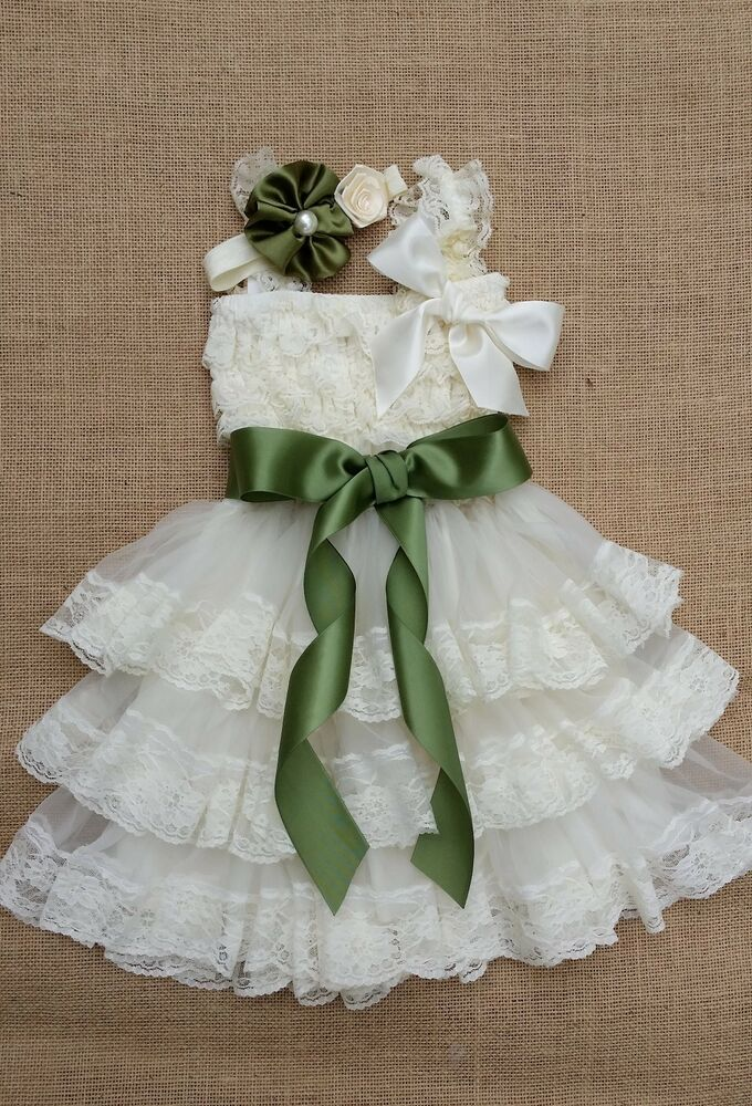 a0e3a9d24f8 Details about Extra full Flower Girl Dress Rustic dress