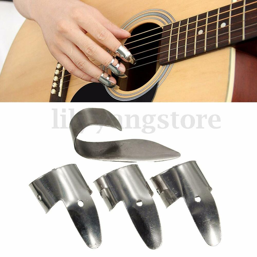 4pcs set pro metal 3 finger picks 1 thumb pick banjo ukulele guitar plectrum ebay. Black Bedroom Furniture Sets. Home Design Ideas