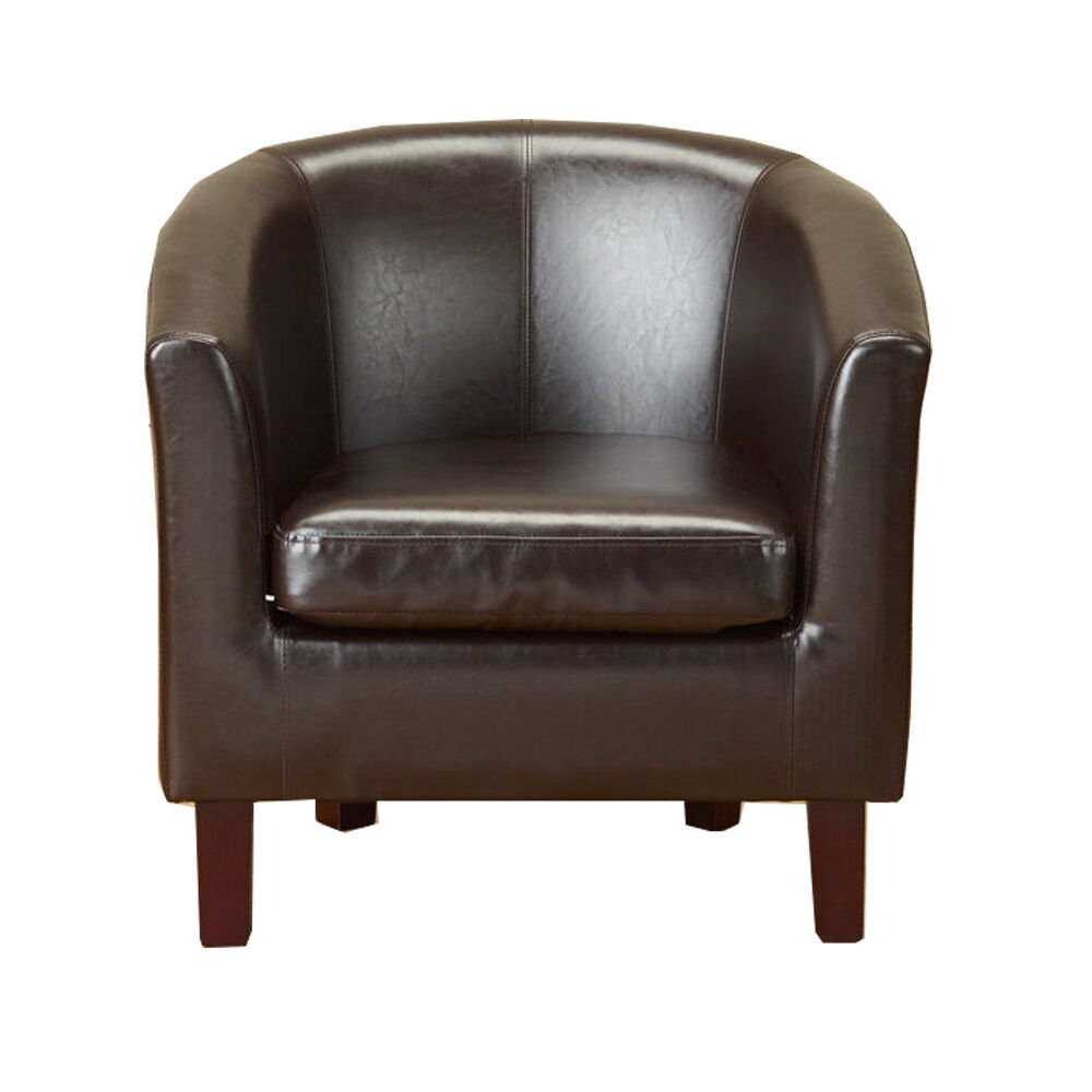 New Brown Faux Leather Pu Tub Chair Armchair Dining Room