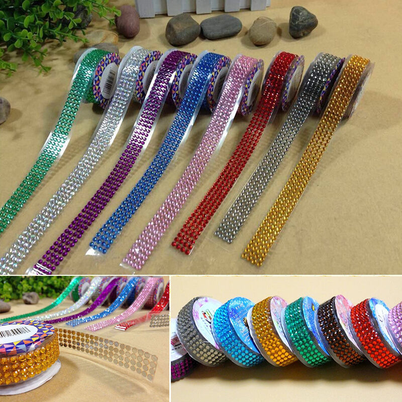 Acrylic rhinestone adhesive roll tape gems stick for Stick on gems for crafts