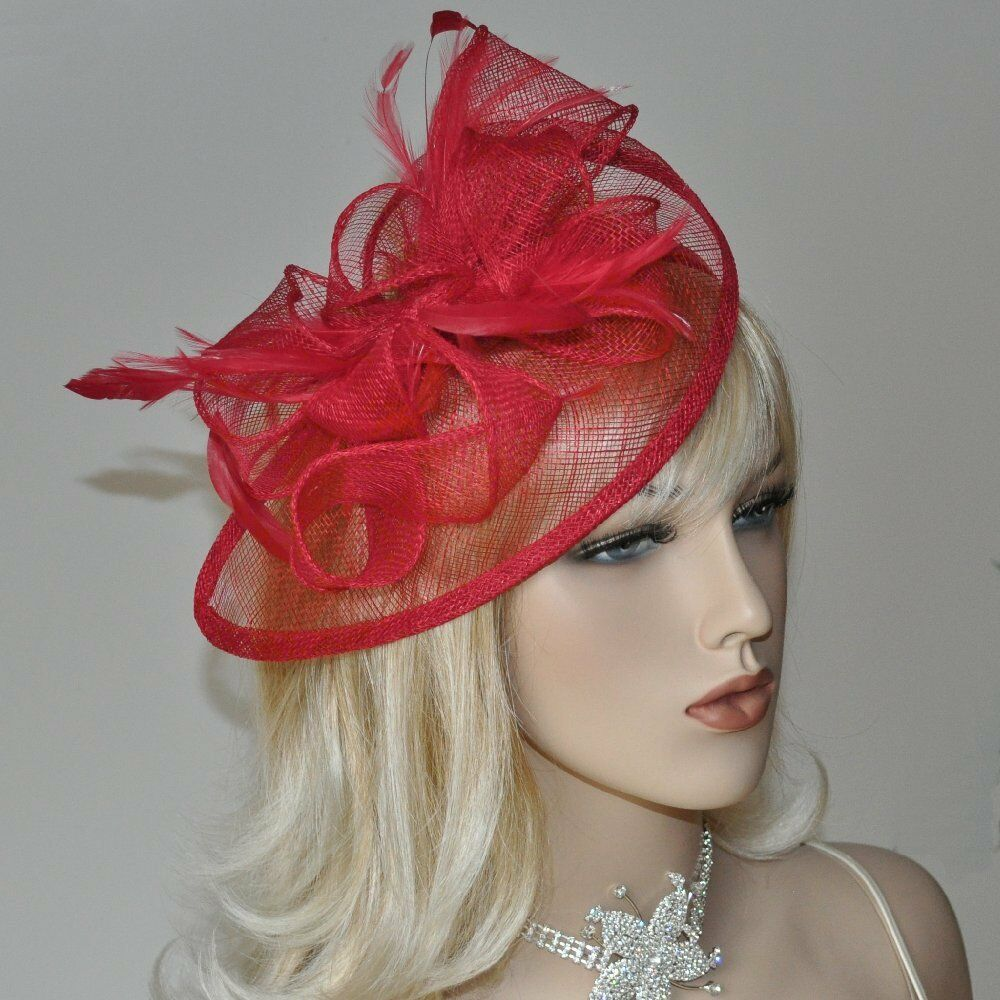 fascinator am haarreif kopfschmuck hochzeit hut haarschmuck schleife federn rot ebay. Black Bedroom Furniture Sets. Home Design Ideas
