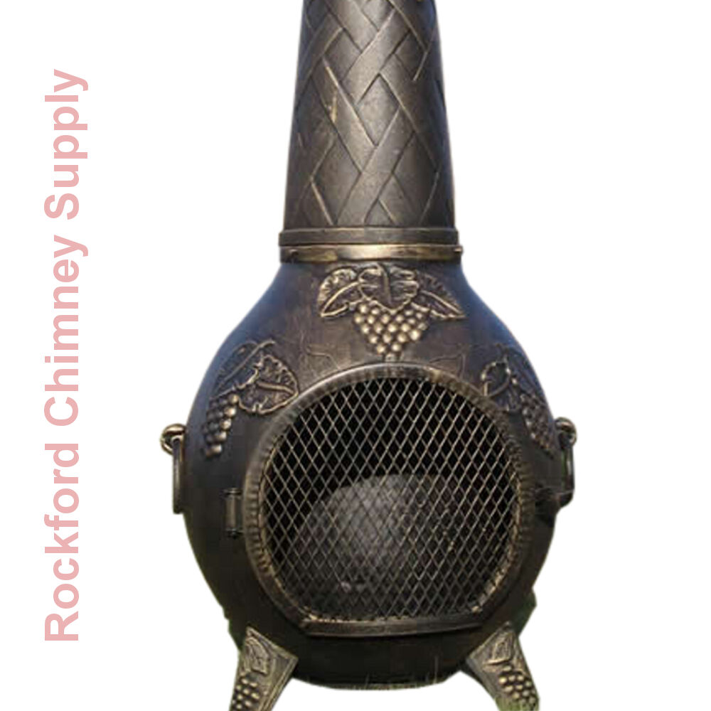 Wood Burning Chiminea Grape Design Outdoor Fireplace Cast