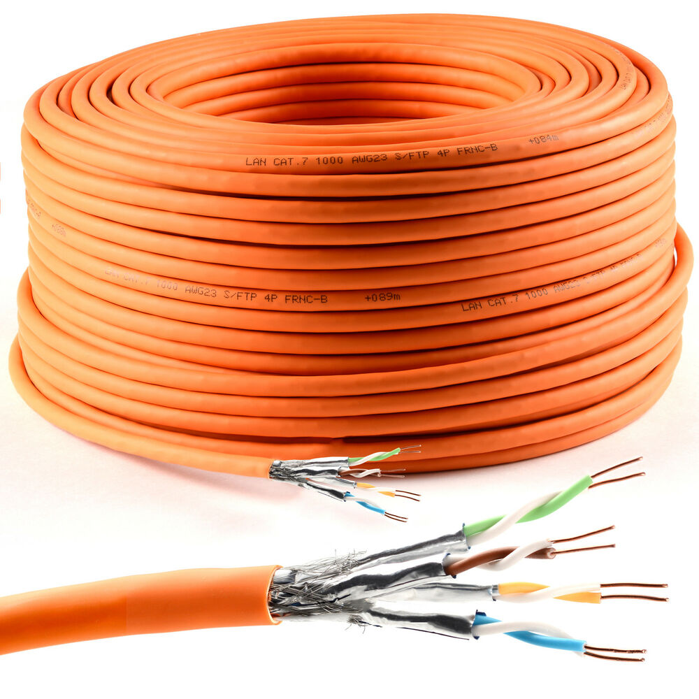 50m cat7 verlegekabel orange gigabit 10gbit 1000mhz sftp. Black Bedroom Furniture Sets. Home Design Ideas