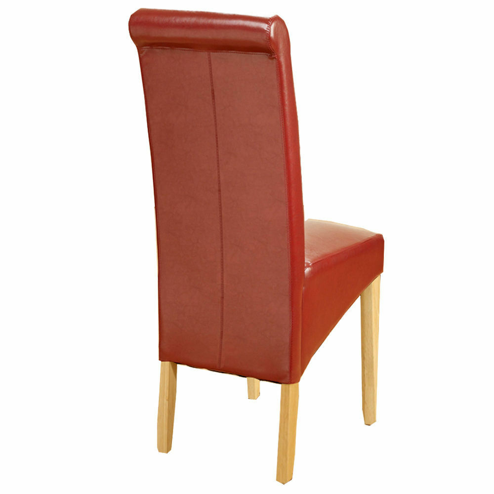Modern Red Faux Leather PU Dinging Chairs Scroll High Back