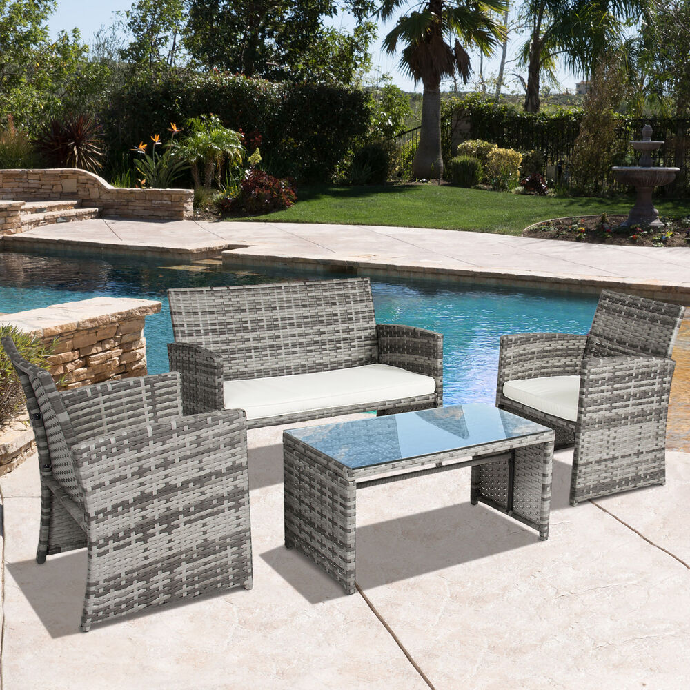 Bcp Outdoor Garden Patio 4pc Cushioned Seat Mix Gray