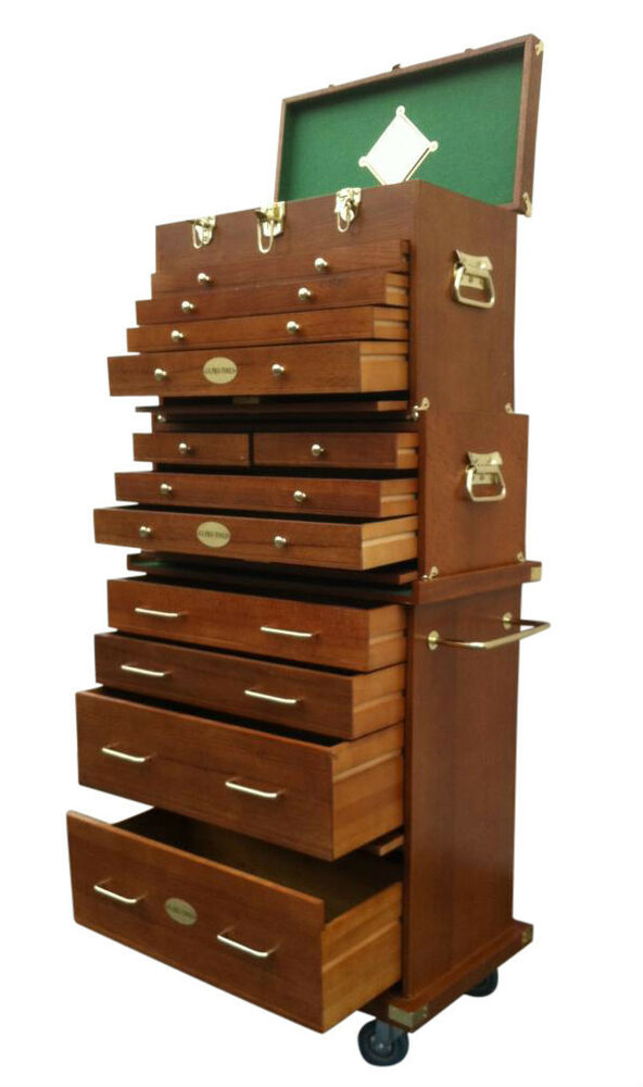 103 us pro tools wooden tool box chest wood cabinet engineer toolbox drawers ebay - Wood cabinet design software ...