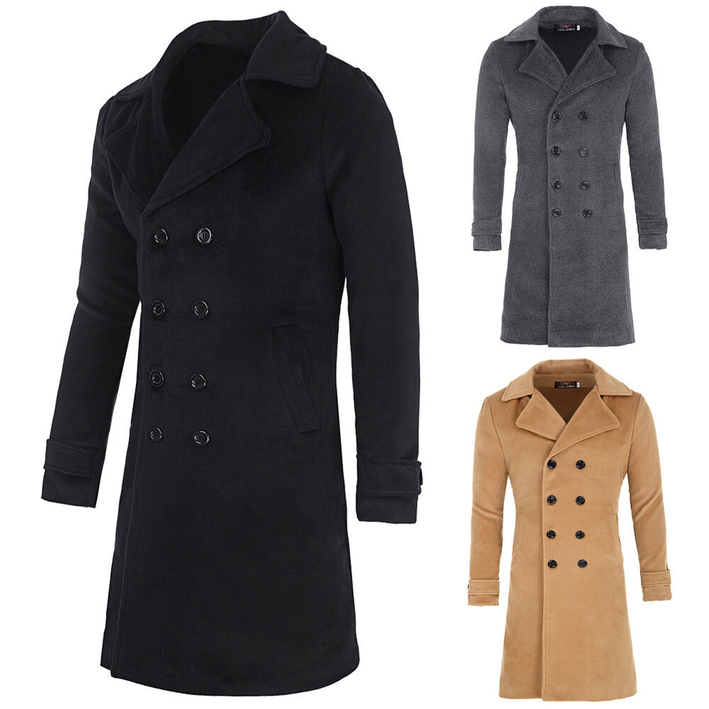 2016 Mens Winter Wool Long Double Breasted Trench Coat ...