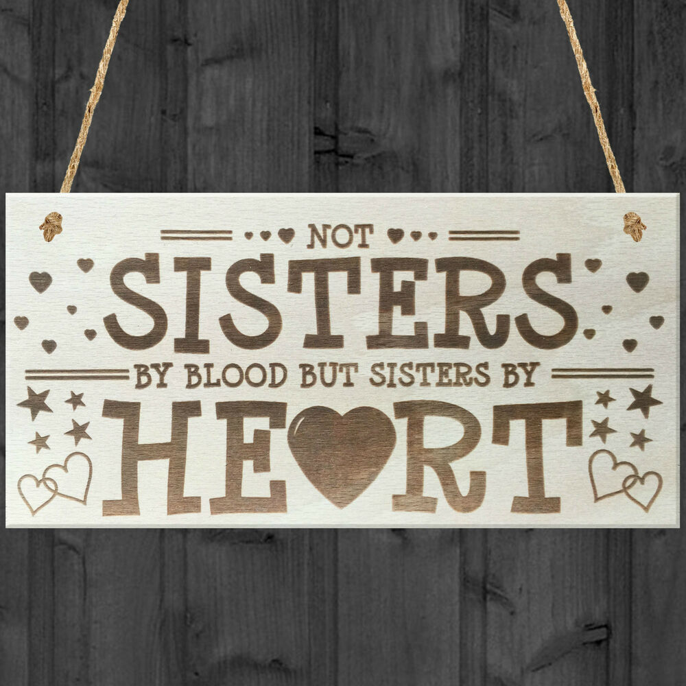 Sisters By Heart Shabby Chic Wooden Hanging Plaque Best