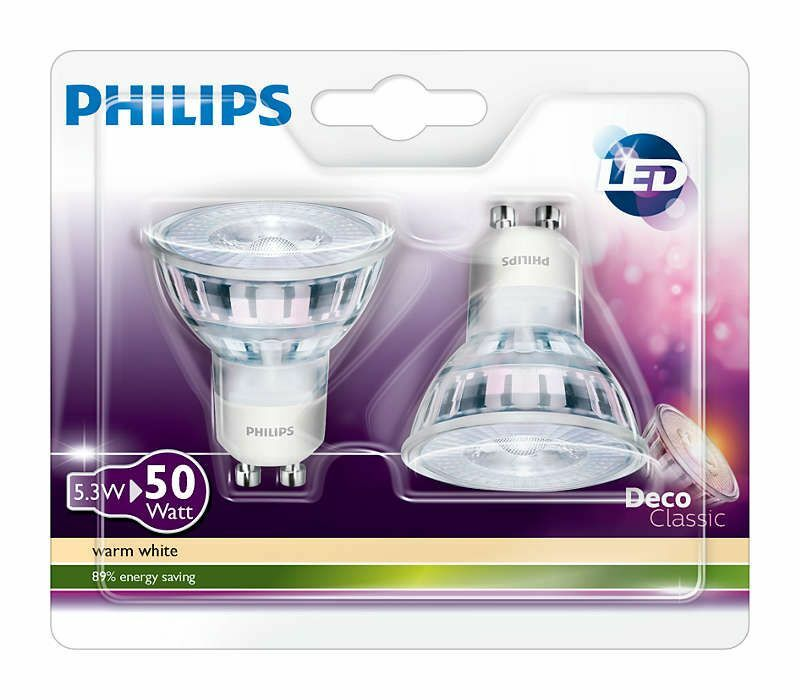 philips gu10 5 3w led deco classic lamp 50w warm white 2700k 345lm 2pk ebay. Black Bedroom Furniture Sets. Home Design Ideas