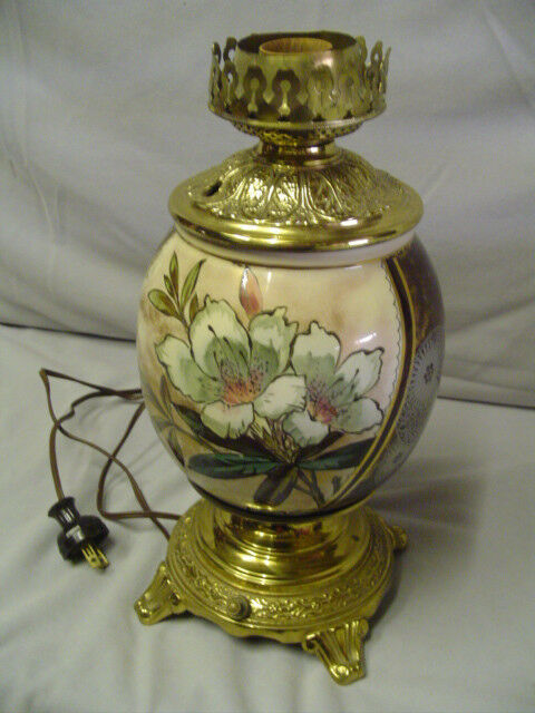Oil Lamp Gone With The Wind Type With White Flower 12 ...