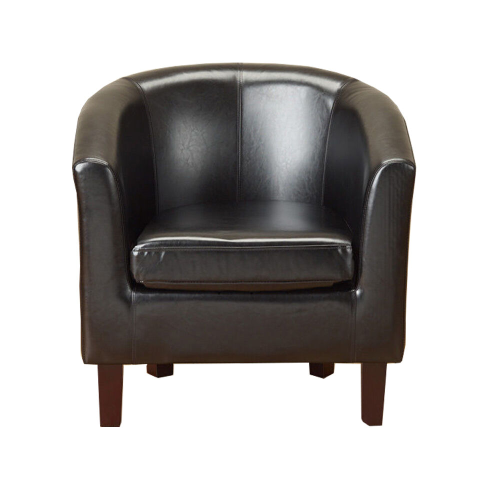 black faux leather pu tub chair armchair dining living room office