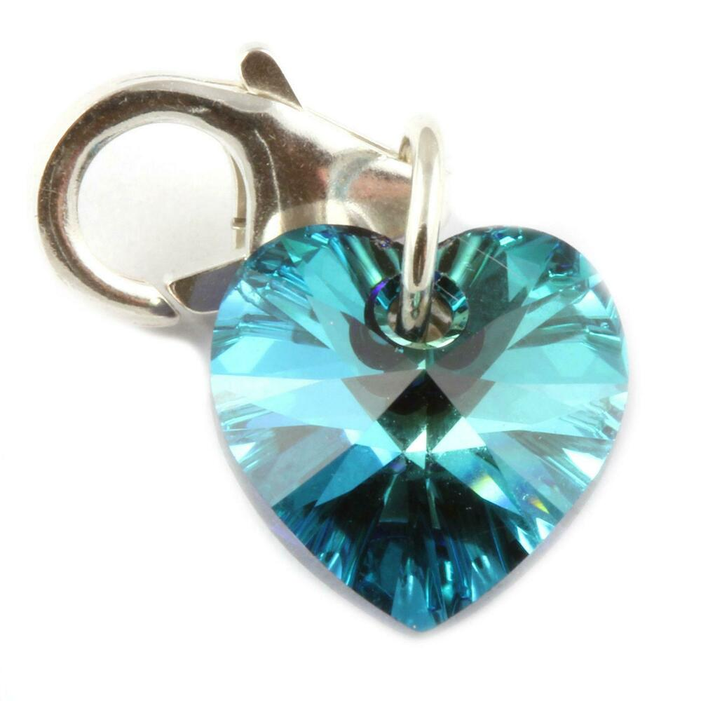 260bf26fa Details about BERMUDA BLUE Crystal Heart Clip On Charm - Made With Swarovski  Elements