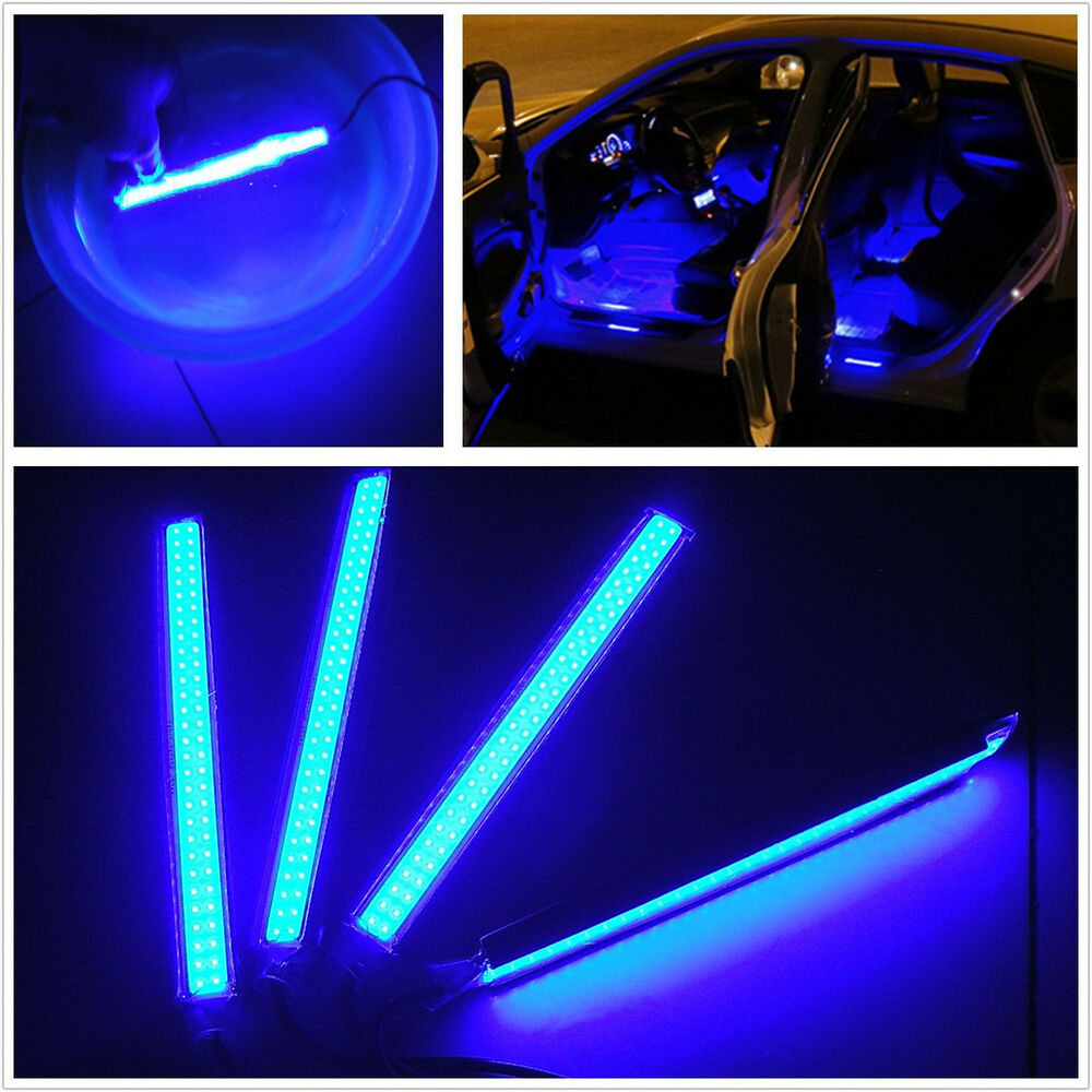4in1 blue cob led car interior footwell decorative atmosphere lights neon lamps ebay for Led car interior lights ebay