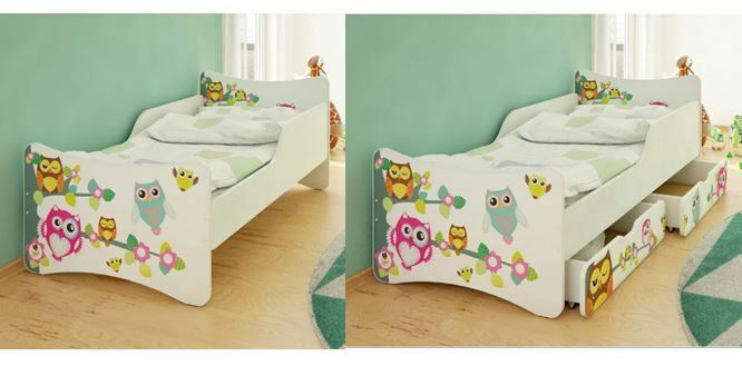 bfk brandneu bett kinderbett jugendbett eulen owl schubladen matratze 90x200 ebay. Black Bedroom Furniture Sets. Home Design Ideas