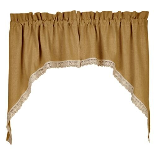 New french country cottage chic crochet lace trim burlap cafe swags curtains ebay