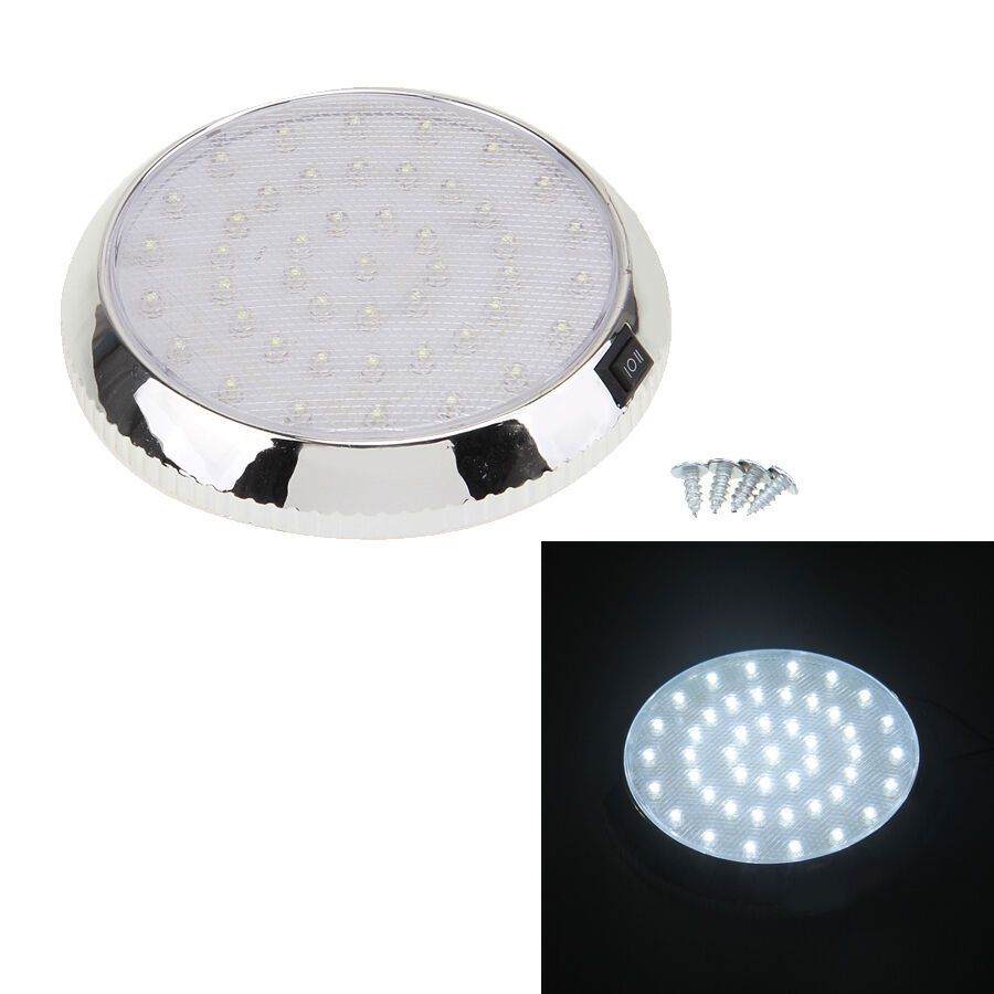1x car rv bus white 12v 46led interior indoor roof ceiling dome light lamp ebay. Black Bedroom Furniture Sets. Home Design Ideas