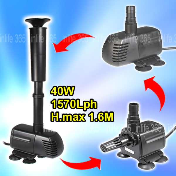 3 In1 Aquarium Pond Garden Fountain Water Waterfall Filter Pump 40w 1570l H Ebay
